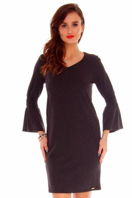 Sukienka poszerzane rękawy CMK757 czarna