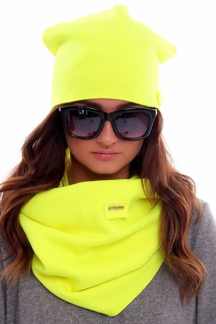 Ciepła czapka z kominem CMC018 neonowy żółty