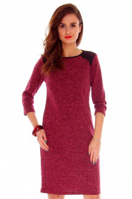 Sukienka dopasowana angora CMK758 bordowa
