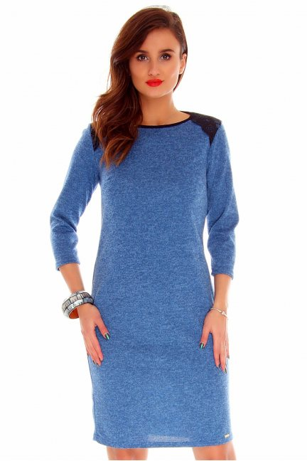 Sukienka dopasowana angora CMK758 niebieska
