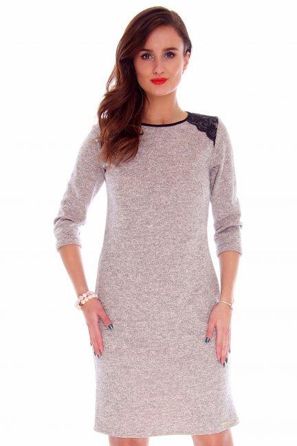 Sukienka dopasowana CMK758 beżowa