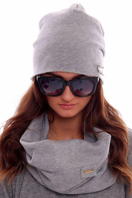 Ciepła czapka z kominem CMC018 szara
