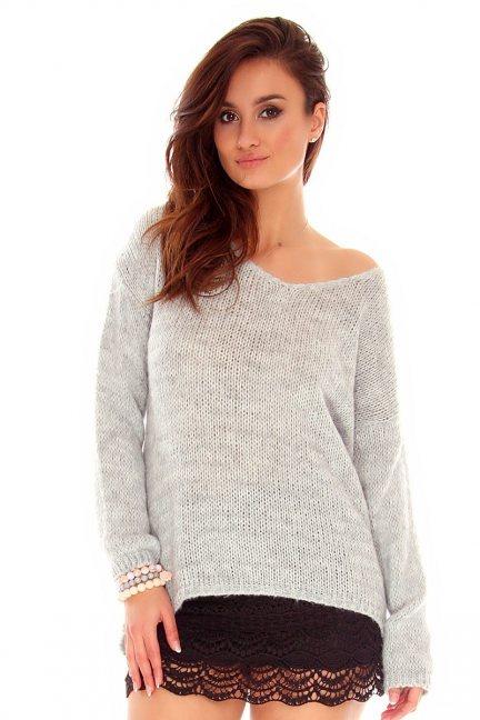 Sweter damski oversize CMK760 szary