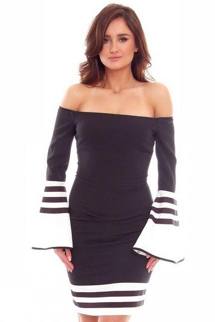 Sukienka elegancka wizytowa CMK762 czarna