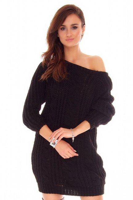 Sweter długi warkocze CMK767 czarny