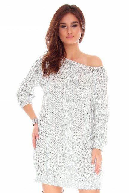 Sweter długi warkocze CMK767 szary