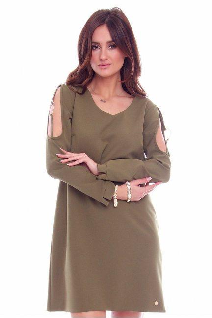 Sukienka wycięte ramiona CMK769 khaki