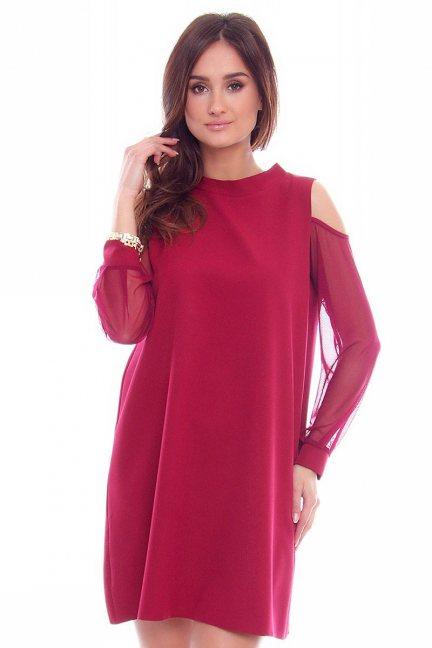 Sukienka szyfonowe rękawy CMK772 bordowa