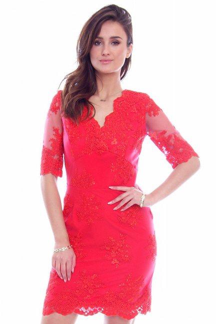 Sukienka koronkowa CMK707 czerwona