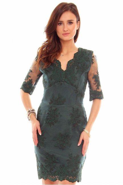 Sukienka koronkowa CMK707 zielona
