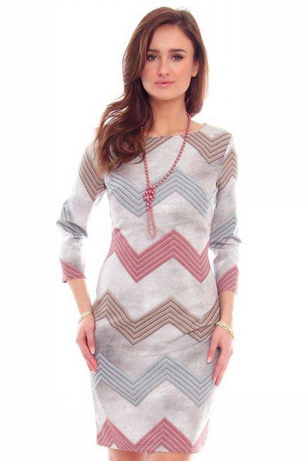Sukienka elegancka zygzaki CMK774 szara