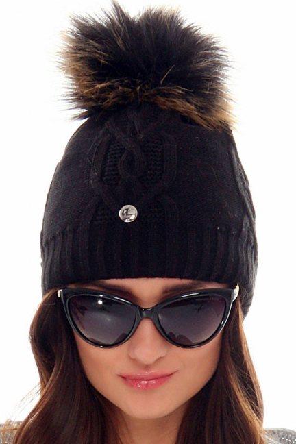 Czapka damska z futerkiem CMC048 czarna