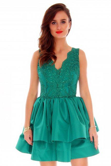 Sukienka falbanki koronka CMK787 zielona