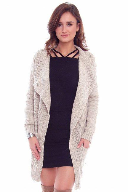 Sweter narzutka kardigan CMK2060 beżowy
