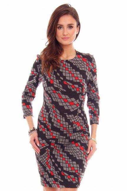 Sukienka geometrycze wzory CMK790 grafitowa