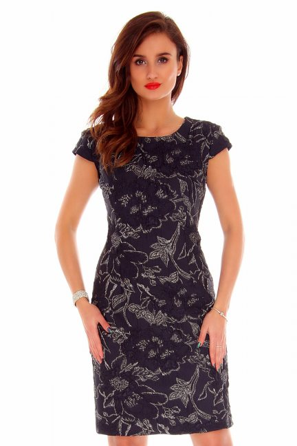 Sukienka damska ozdobna CMK797 czarna