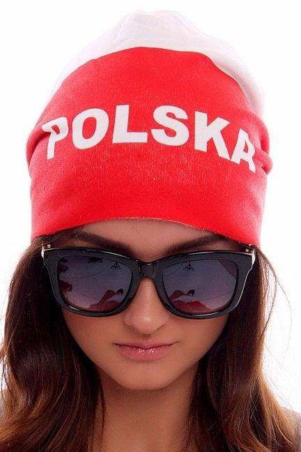 Czapka z napisem Polska CMCP05 biało czerwona