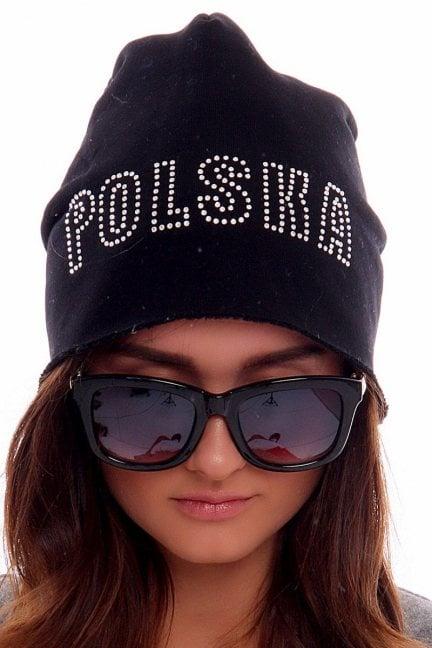 Czapka z cekinami Polska CMCP08 czarna