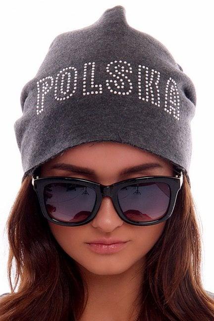 Czapka z cekinami Polska CMCP08 grafitowa