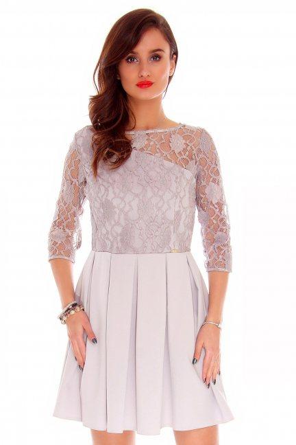 Sukienka z koronki mini CMK798 szara