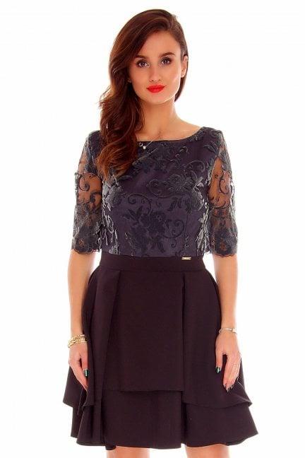 Sukienka koronkowa modna CMK799 czarna