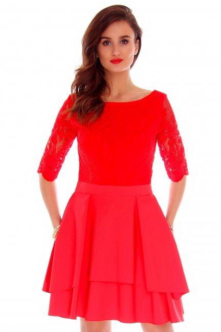 Sukienka koronkowa modna CMK799 czerwona