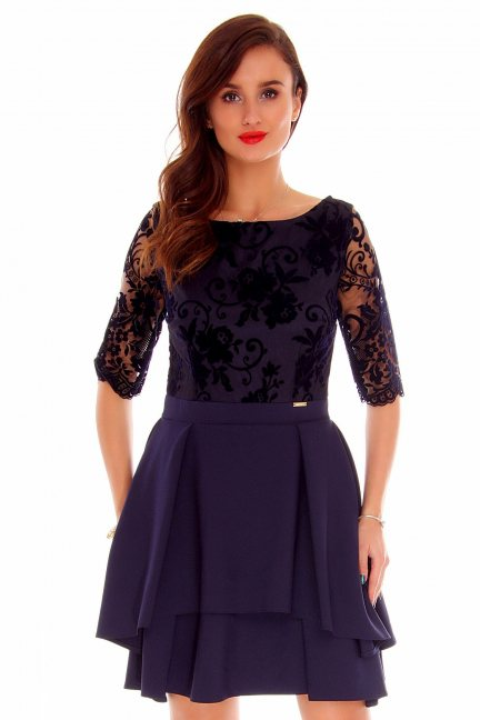 Sukienka koronkowa modna CMK799 granatowa