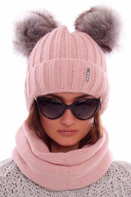 Zimowa czapka z kominem CMC069 różowa
