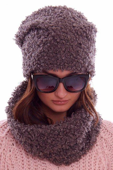 Zimowa czapka z kominem CMC070 brązowa