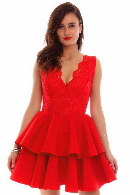 Sukienka koronka falbanki CMK686 czerwona
