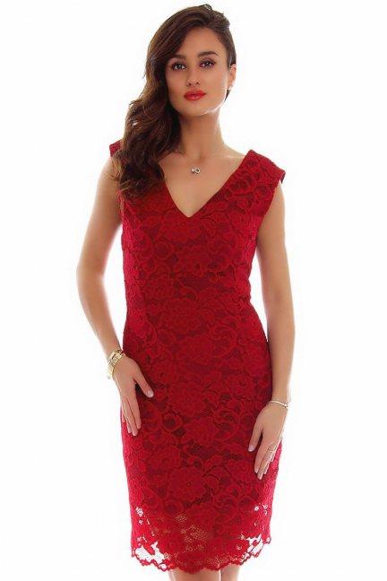 Sukienka midi z koronki CMK794 bordowa