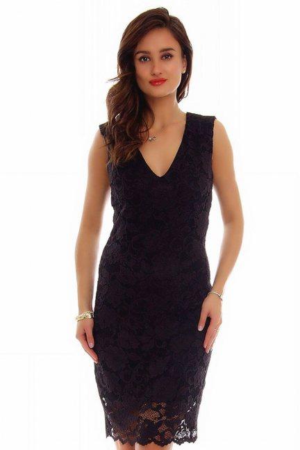 Sukienka midi z koronki CMK794 czarna