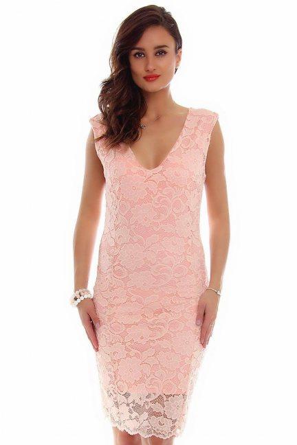 Sukienka midi z koronki CMK794 różowa
