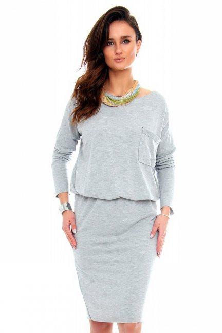 Sukienka ołówkowa z angory CM344 szara