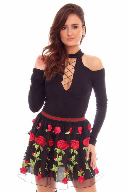 Spódnica damska w róże CMK845 czarna
