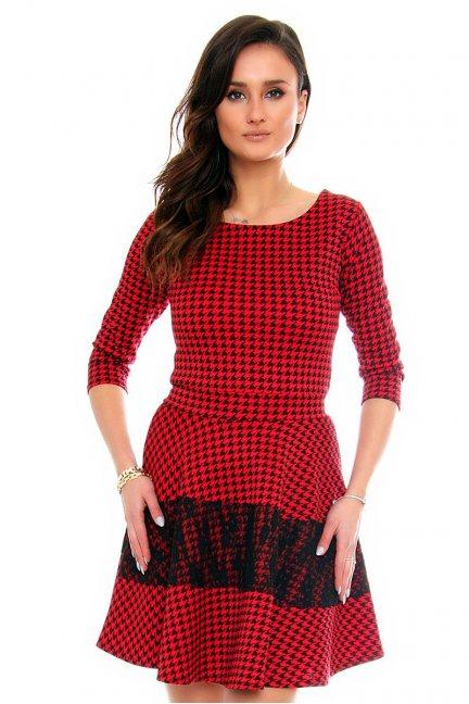 Sukienka koronka w pepitkę CM375 czerwona