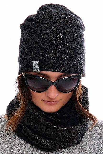 Komplet czapka z kominem CMC023 czarny