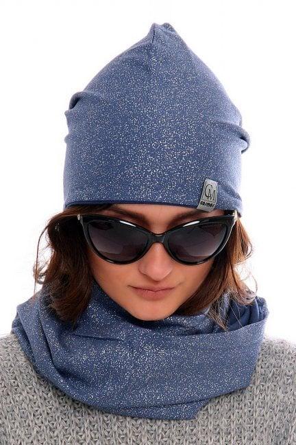Komplet czapka z kominem CMC023 niebieski