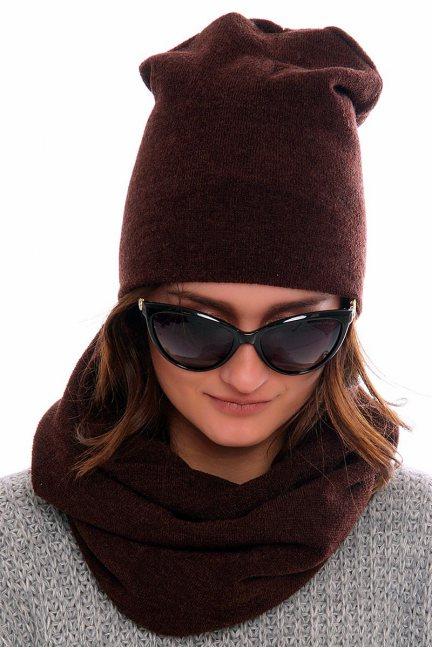 Komplet czapka z kominem CMC020 brązowy