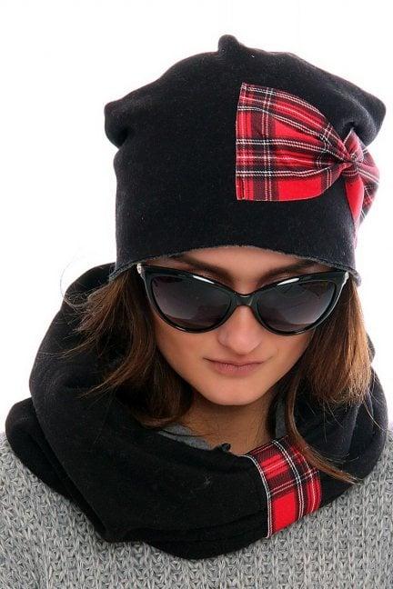 Komplet czapka z kominem CMC032 czarny