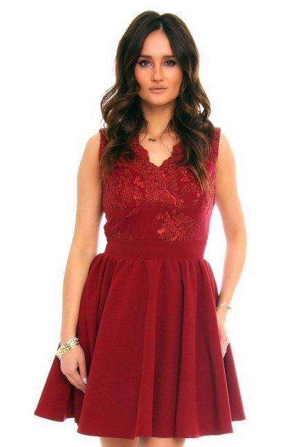 Sukienka rozkloszowana CMK226 bordowa