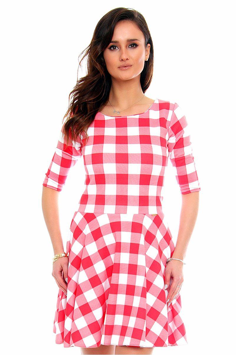 f430291a4a Sukienka z koła w kratę CM251 różowa sukienki modne sklep CosmosModa