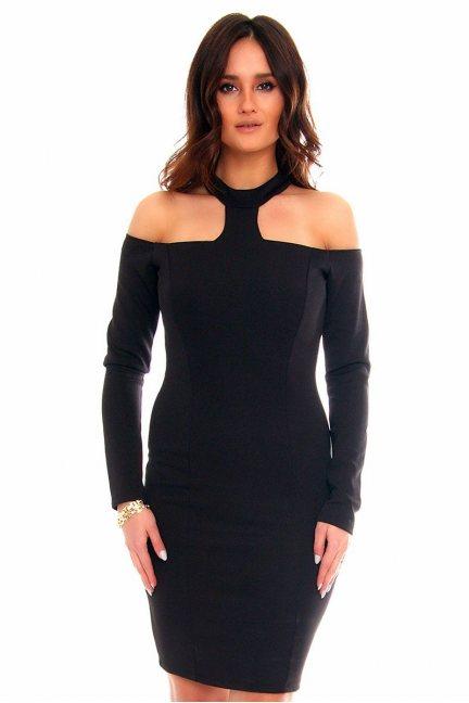 Sukienka elegancka choker CMK849 czarna