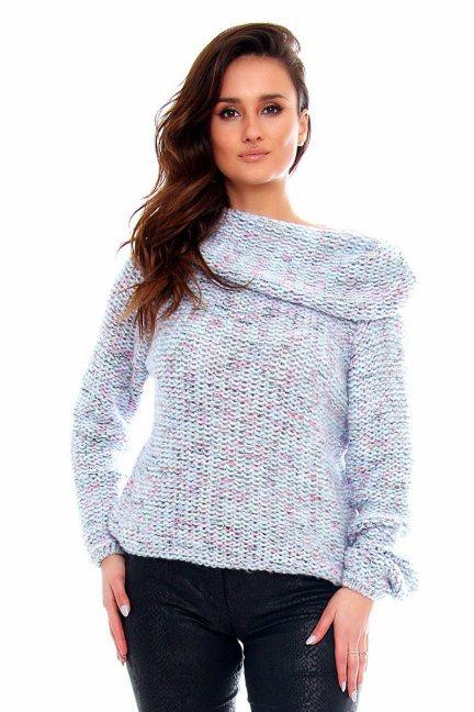 Sweter ciepły duży golf CMK2033 niebiesko-różowy