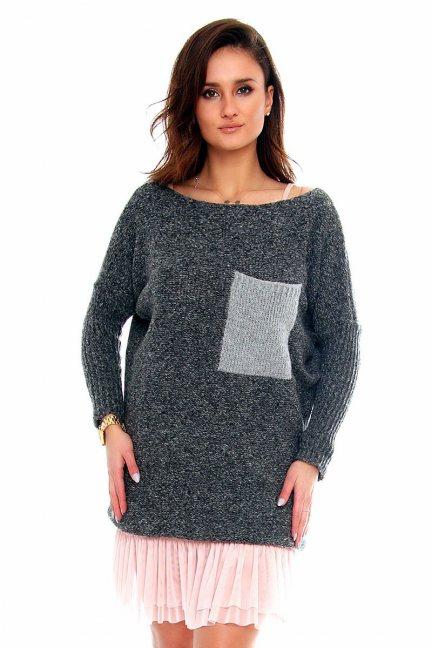 Sweter tunika z kieszenią CMK2021 grafitowy