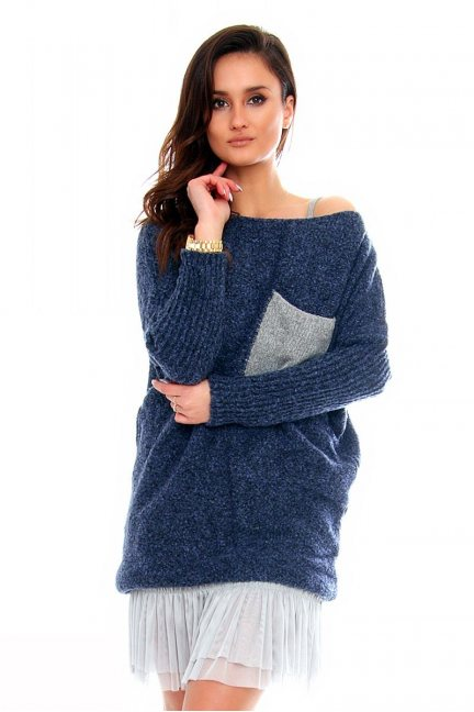 Sweter tunika z kieszenią CMK2021 granatowy