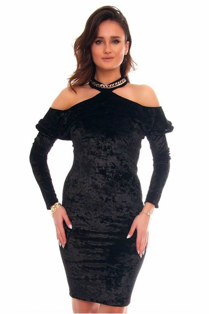 Sukienka ozdobny choker CMK852 czarna
