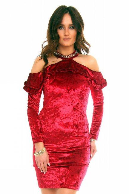 Sukienka ozdobny choker CMK852 bordowa