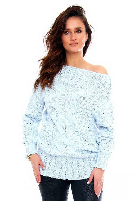 Sweter wełniany damski CMK2062 niebieski