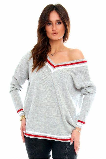 Sweter wycięty dekolt CMK2061 szary